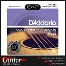 D'Addario EXP26 Coated Phosphor Bronze Acoustic Guitar Strings Custom Light 11