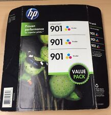 HP 901 Officejet Tri-Color Genuine Factory Sealed CZ720BN Ink Cartridges