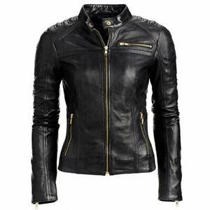 Women Leather Jacket Black Slim Fit Biker Motorcycle Lambskin Leather Jacket