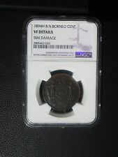 1894 H British North Borneo Cent, NGC VF Details - Rim Damage, Malaysia