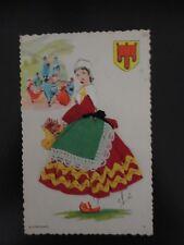 "Carte postale brodée  ""Auvergnate  """