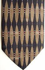 """Robert Talbott (B.O.C.) Men's Silk Tie 59"""" X 3.75"""" Black w/ brown Geometric"""