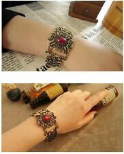 Ancient Bronze Hollow-Out Flower Pattern Red Stone Hand Cuff Bracelet Jewelry