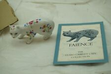 FRANKLIN MINT CURIO CABINET CATS FAIENCE FIGURINE WHITE FLORAL CERAMIC WITH COA