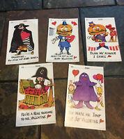Vtg lot 5 McDonalds Valentines 1978 Grimace Hamburglar Captain Crook McCheese