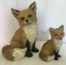 Set Of Sitting Fox Statues, Indoor/Outdoor Resin Decor Red Vixon Fox and Pup Euc