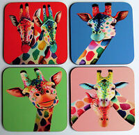 Set of four wooden colourful GIRAFFE coasters by artist Maria Moss