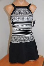 NWT JAG swimsuit bikini One 1 piece attached Dress size L High Neck Skirt