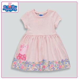 Baby Girls Peppa Pig Character Pink Skater Dress Floral Design 9-18 Months BNWT