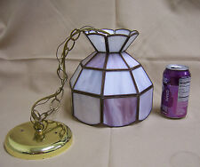 Meyda Tiffany Style Hanging Ceiling Lamp Pink/White Glass small mini size