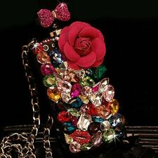 3D Bling Diamonds Glitter Perfume Anti Fall Phone Cases & neck strap For Samsung