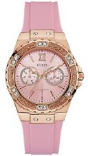 Guess Pink Silicon Strap Rose Gold Tone Ladies Watch 40mm U1053L3