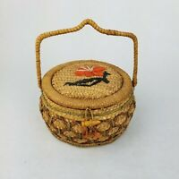 Vintage Wicker Rattan Woven Sewing Basket Crafts Red Lined Farmhouse Decor Boho