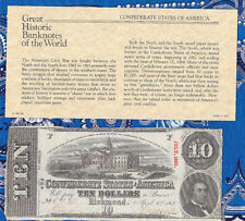 Great Historic Banknotes 1863 Csa $10 Confederate T59 1st series