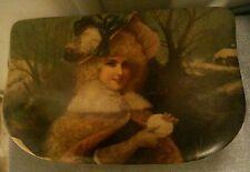 """Victorian Celluloid Fancy Lady Winter Scene Dresser Vanity Box 3"""" x 5"""" x 8"""""""