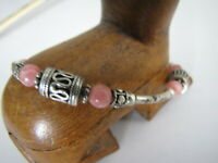 Sterling Silver Rose Quartz Bali Bracelet Long Tube Bead Oxidized 7.5""