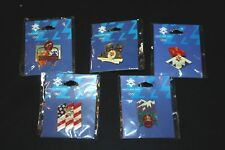 New Winter Olympic Pin Lot Flame Ice Skating American Flag Sports 5 pcs  --UUX