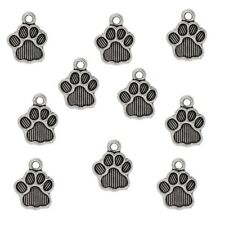 10 Tibetan Silver Dog Paw Charms Pendants