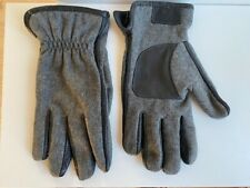 Bugatti Gloves Men Wool Blend Grey Marle and Leather