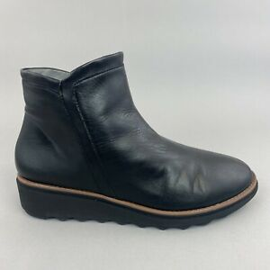 Clarks Collection Black Leather Ankle Zip Up Wedge Booties Boots UK5 E Wide Fit