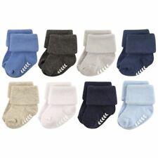 Hudson Baby Boy Non-Skid Cuff Socks, 8-Pack, Blue Gray