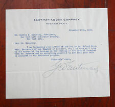 KODAK LETTER SIGNED BY GEORGE EASTMAN, NOV 1928 ON KODAK LETTERHEAD/cks/211877