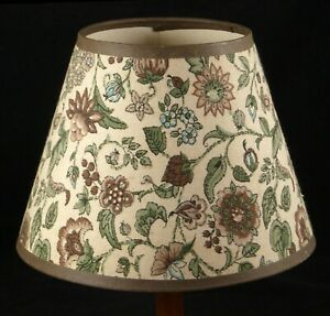 Floral Fabric Lamp Shade Brown/Beige Clip Sconce Table Empire Shape 6x8 Vintage
