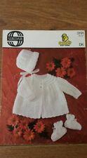 "SIRDAR SNUGGLY BABY YARNS 3191 DK 18-19"" COAT BONNET BOOTEES knitting pattern"
