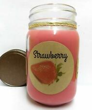 Fresh Strawberry 16oz Country Jar All Natural Handmade Soy Candle