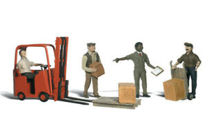 Woodland Scenics ~ N Scale People ~ Workers with Forklift ~ A2192