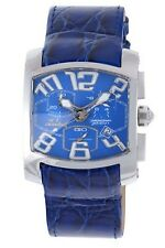 Chronotech Men's CT.7703M/03 Rectangle Chronograph Blue Leather Date Watch