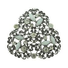shape leaf filigree hollow brooch pin dark silver tone grey diamante triangle