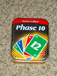 Phase 10 Masters Edition Card Game - Fundex 2003 Complete Tin Container