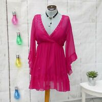 PER UNA Summer Chiffon Pink Tunic Blouse Beaded & Sequins UK12 Holiday