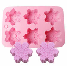 6-Snowflake Silicone Soap Chocolate Molds Ice Tray Cake Jelly Christmas Mould