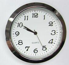 "2-1/8"" (55MM) PREMIUM QUARTZ CLOCK Insert, Silver Bezel, Metal Case, Arabic"