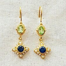 Lavish Pearl, Peridot & Sapphire Vermeil 14K Gold Over Sterling Silver Earring