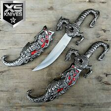 "BRAND NEW 10"" RED INLAY FANTASY DRAGON DAGGER w/ SHEATH Blade Knife Sword"