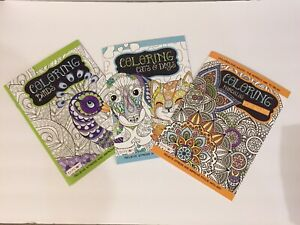 BENDON COLORING BOOKS MANDALAS BIRDS CATS & DOGS FOR ADULTS NEW 3 PACK