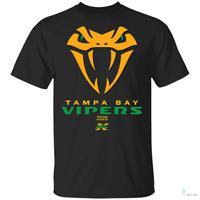 Tampa Bay Vipers XFL² 2020 Snake Mens Short Sleeve T-Shirt Black Cotton Tee