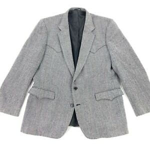 Circle S West Men's 2-Button Western Blazer Jacket Black/White • 46 L