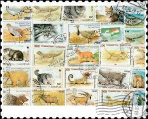 Tadjikistan : 25 timbres différents