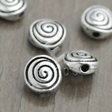 100pcs Tibetan Silver Loose Spacer Beads Jewelry Flat Round 8x8x4mm EB