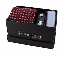 Red Silk Tie, Pocket Square & Cufflink Gift Set