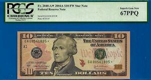 FR-2040-A* -  2004-A $10 FRN (( Boston - STAR )) PCGS Superb 67PPQ # GA0561895*-