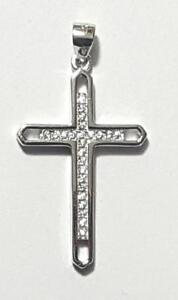 Cross Pendant 925 Sterling Silver Micro Pave Crystal Cubic Zirconia Stones # 50