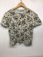 WHITE STAG Tee Womens Size L Short Sleeve Shirt  Floral Cotton Top