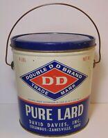 Vintage 1950s TIN LITHO DAVID DAVIES GRAPHIC TIN 4 POUND LARD CAN COLUMBUS OHIO