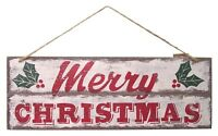 """15"""" Traditional Wooden Merry Christmas Hanging Plaque Wall Sign Decoration"""