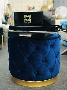 Foot Stools Ottomans with Gold Metal Bases 48*48*41 Navy